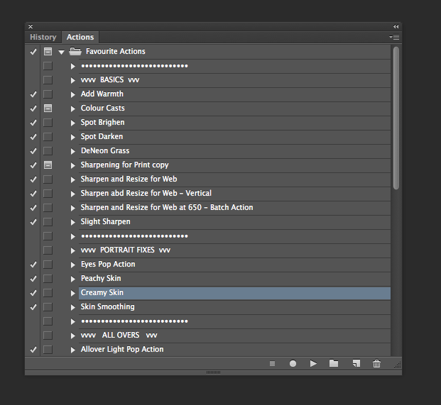 Tips for Organising Photoshop Actions
