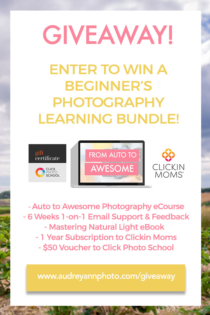 GIVEAWAY! Enter to win a Beginners Photography Learning Bundle, including a seat in the Auto to Awesome ecourse, 6 weeks of one on one support, a mastering natural light ebook, a year's subscription to Clickin Moms and a $50 dollar voucher to spend in Clickin Moms! Click through to enter!