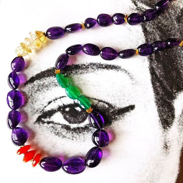 Another art book photo shoot with our Smithsonian necklace! This piece was inspired by the gorgeous gems in the many museums we are lucky to be close to here in New York. For my take on museum jewels I used high quality amethyst with pops of citrine, carnelian and green onyx, playing with shape and color. A work of art for your neckline! . . . . . #saskiadevries #saskiadevriesdesigns #jewelry #necklace #pendant #amethyst #greenonyx #citrine #carnelian #crystal #crystals #brooklyn #industrycity #handmade #brooklynhandmade #handmadeaccessories #accessories #photooftheday #jewelrygram #fashionjewelry #beautiful #fashion #style #art #photooftheday #instagood #instafollow #purple #love