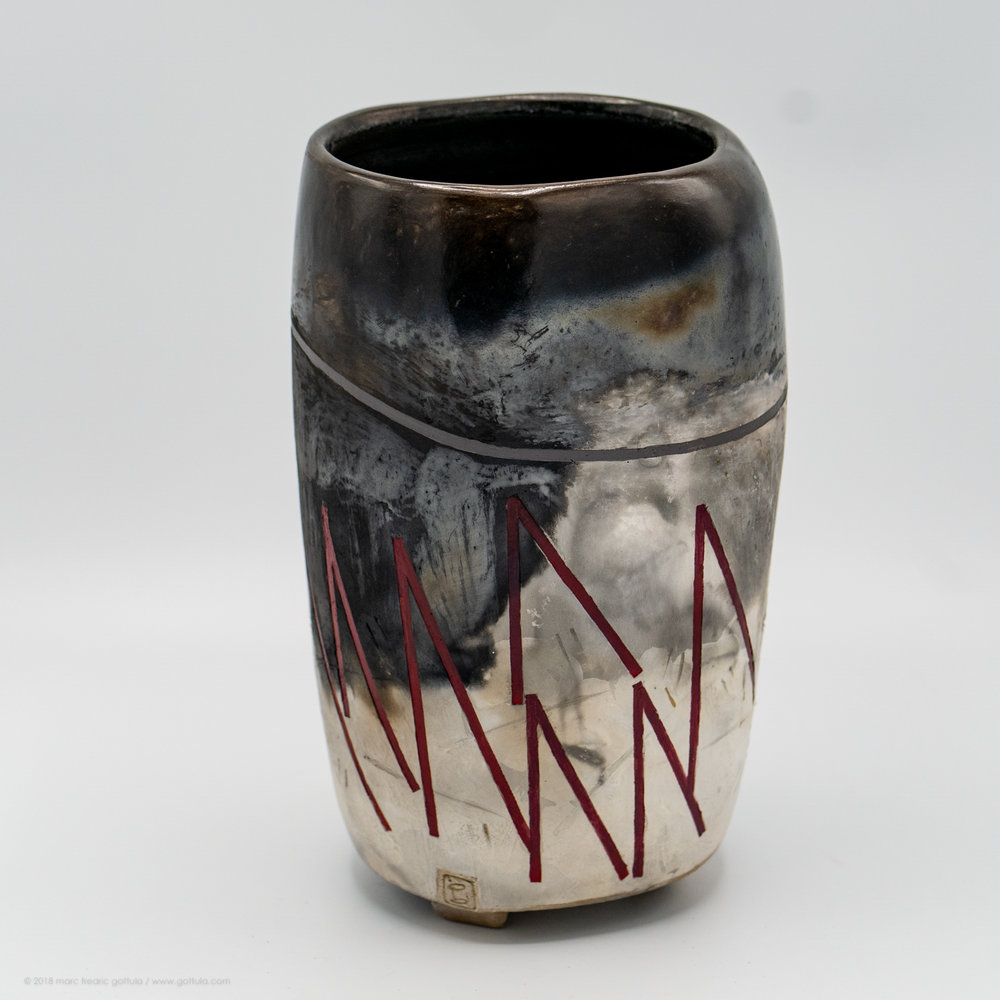 Footed Vessel - pit fired / stoneware and porcelain