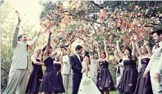 For a rustic fall wedding, the changing leaves make for a beautiful send off.