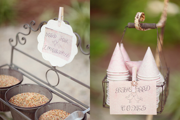 For a bit more of a traditional send off you could go for these birdseed cones.
