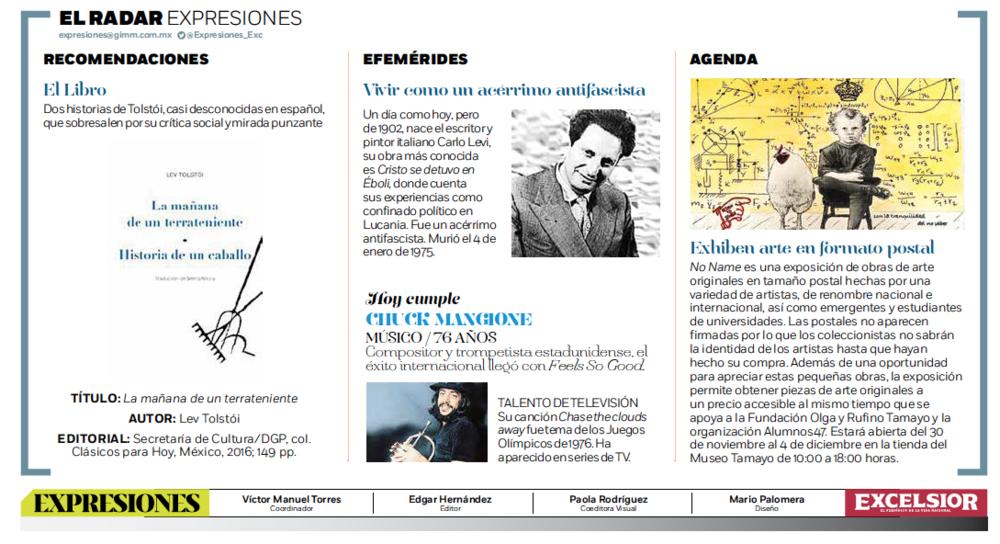El Radar, en la sección Expresiones del periódico Excélsior