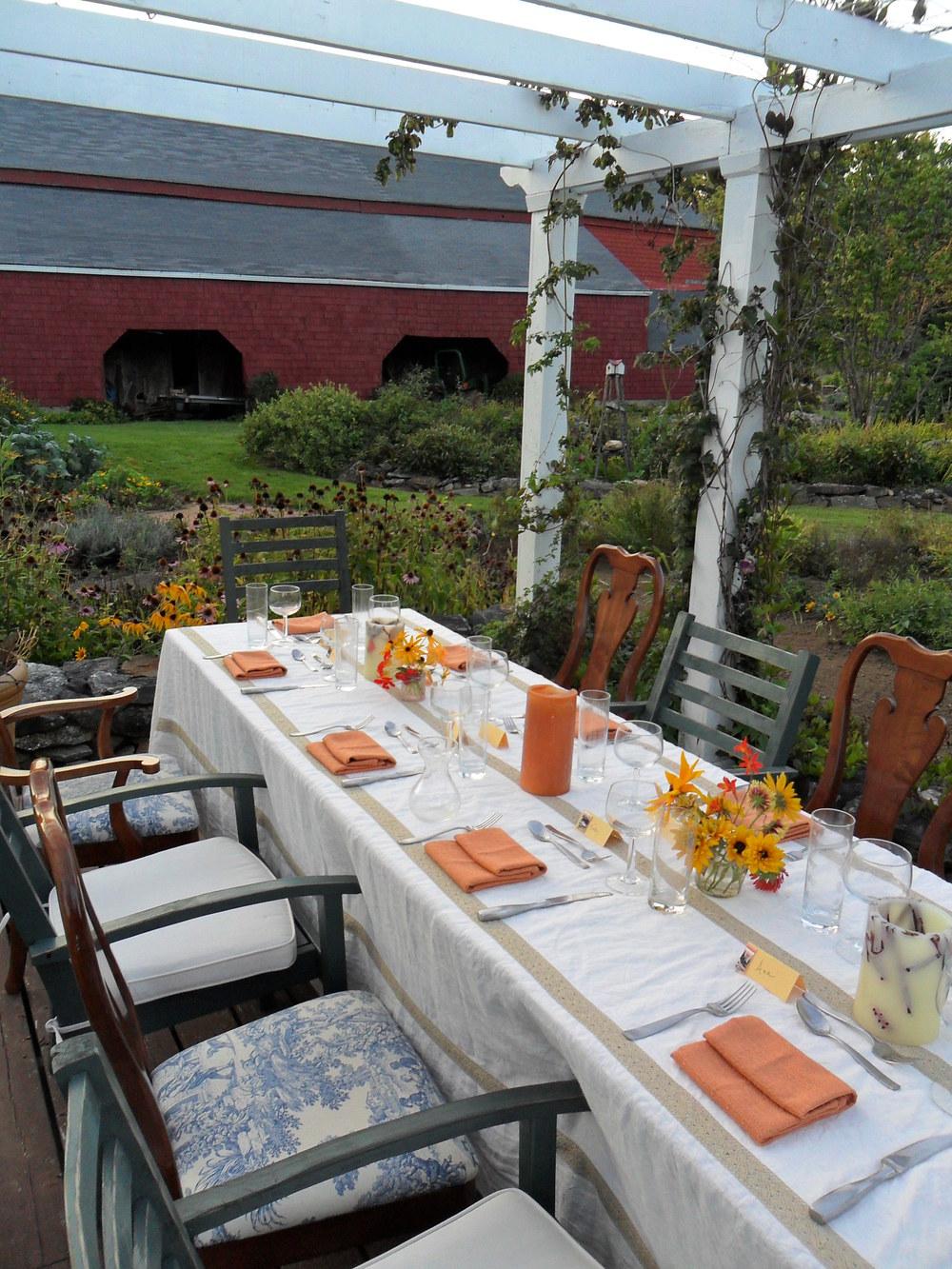 A farm-to-table dinner at a homestead in coastal Maine