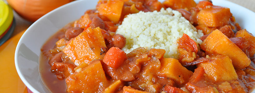 SWEET POTATO CHILI OVER COUSCOUS