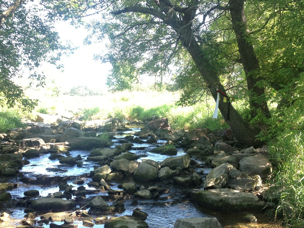 Prayer scarves over a creek at Pipestone National Monument. The site is considered holy by the Lakota