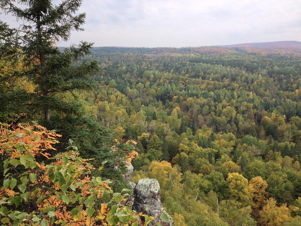 View from the lookout at cascade river state park on Lake Superior