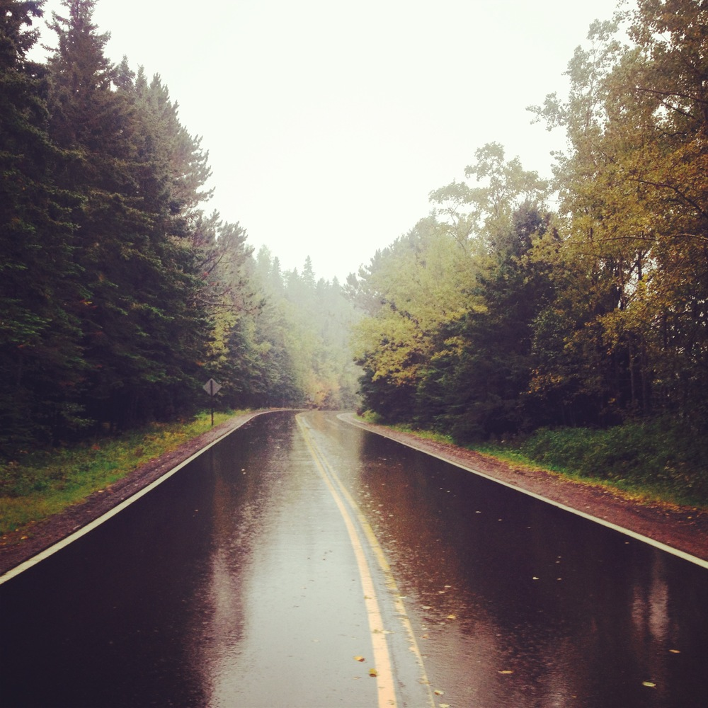 Foggy road to Grand Portage State Park