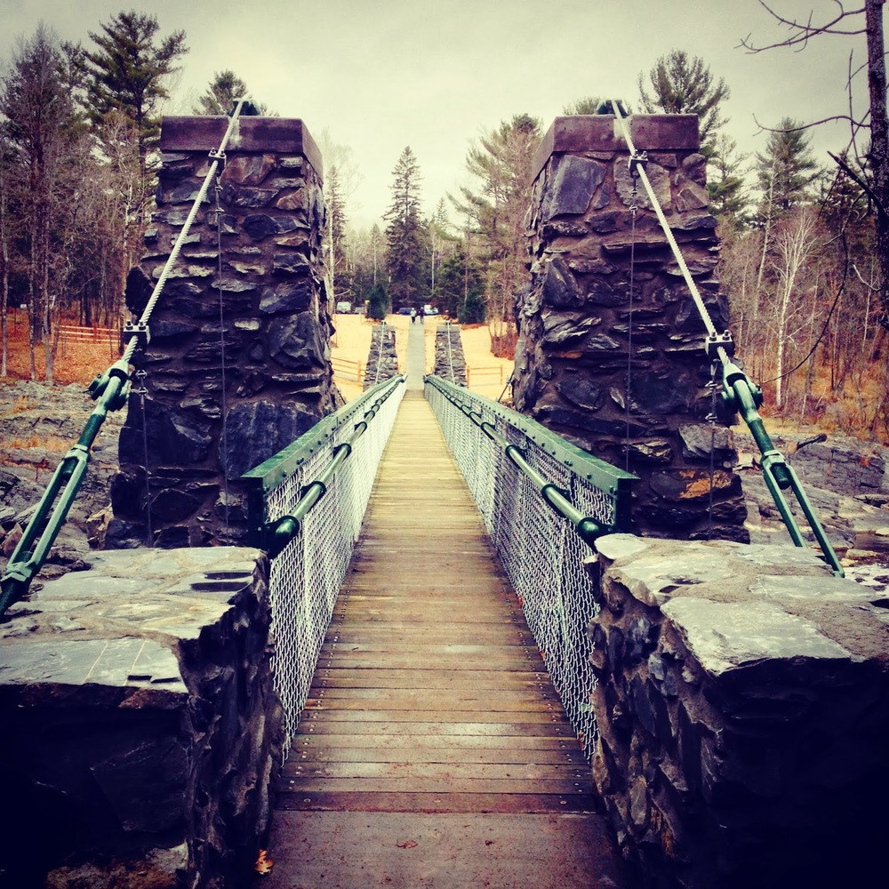 It's called a swinging bridge at Jay Cooke State Park and maybe it started out that way, but today it's mostly just a regular foot suspension bridge.