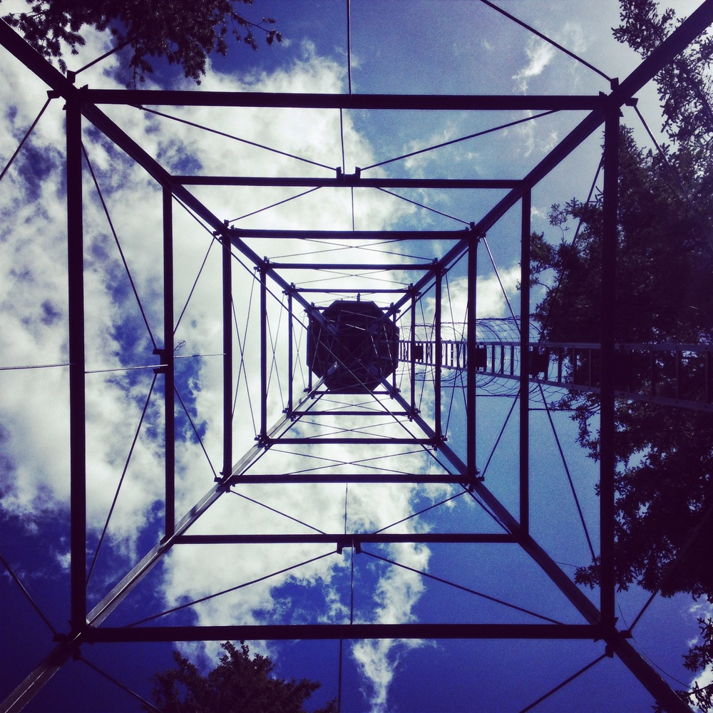 Looking up from beneath the fire tower.