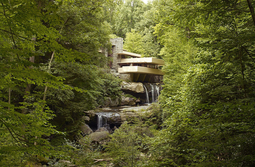 Fallingwater, a house designed by American architect Frank Lloyd Wright in 1934