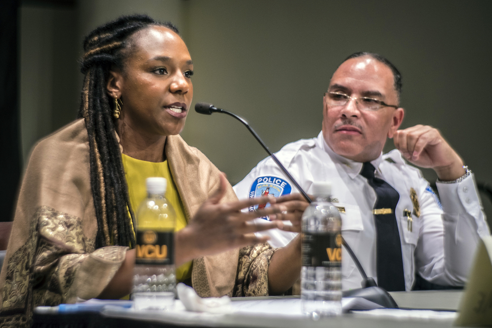 Activist Bree Newsome speaks at the Black Lives Matter Symposium Photo by Craig Zirpolo/RVA Magazine