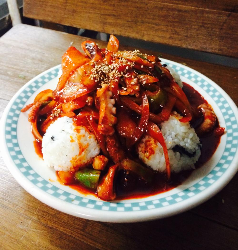 낙지볶음과 주먹밥 Spicy Octopus & Rice Ball   $20.95