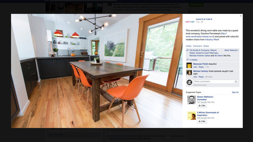 Carolina Farmstead's handcrafted dining table featured on HGTV's Love It or List It