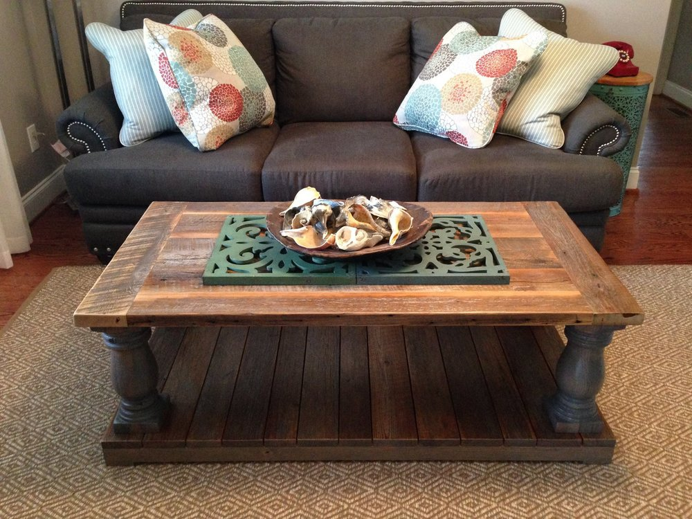 Custom Solid Wood Coffee Table with Large, Hand-turned Legs