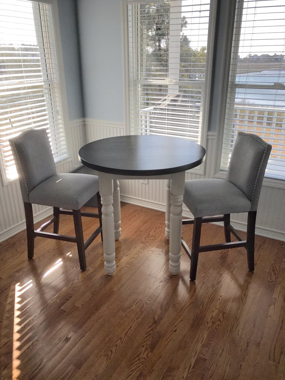 Custom round Grandma's Kitchen Table with top in Kettle and legs in Old White
