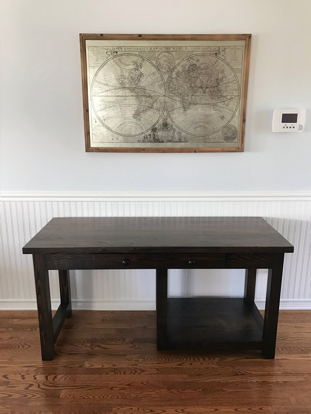 Custom desk with drawer and printer shelf for printer stained in Kettle