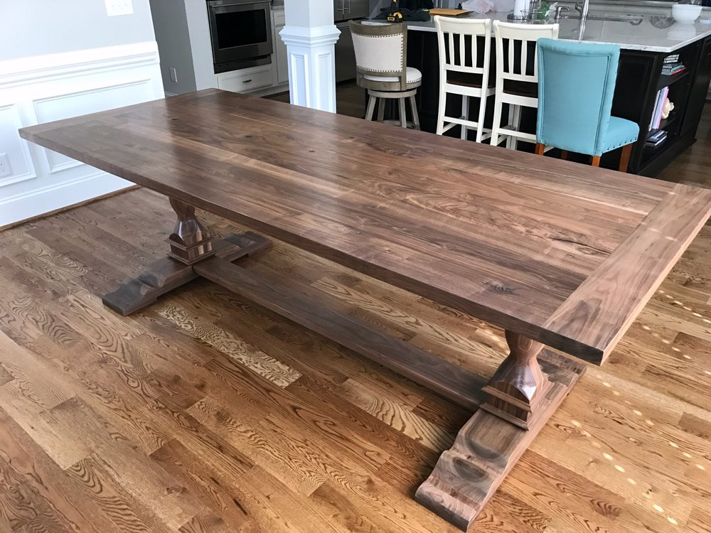 Sit Down Dinner Table with custom pedestals