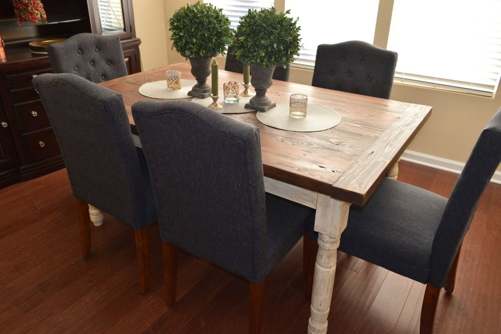 Handcrafted Kitchen Table with Turned Legs