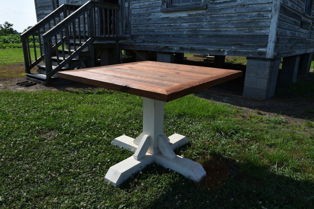Square Wood Table with White Base