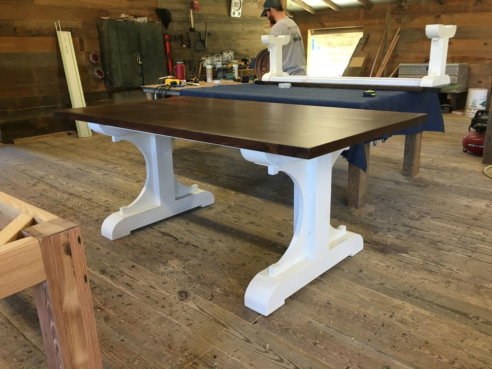Reclaimed Wood Table with White Base