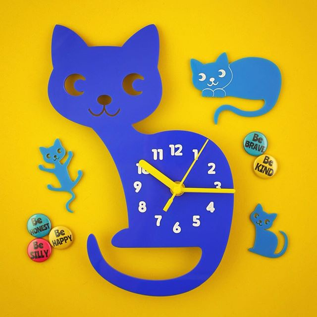 I do love it when a customer makes an on brand colour choice for their clock! 😸 . #cat #cats #feline #catslover #catsrule #ninelives #clock #wallclock #bedroomclock #lasercut #purrfect #bedroomdecor #homedecor #bedroom #kids #kidsroom #joyineverypiece #boobooandted