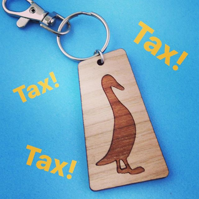 Phew! I'm done with self-assessment so no more being pecked at by HMRC (till next year)! 😇 . By happy coincidence, I made a custom key ring with a duck on it just recently, too. But nope, not for anyone in the treasury! :') . And now for a treat of some kind, I reckon! . #selfassessment #taxistaxing #taxreturn #bookkeeping #hmrc