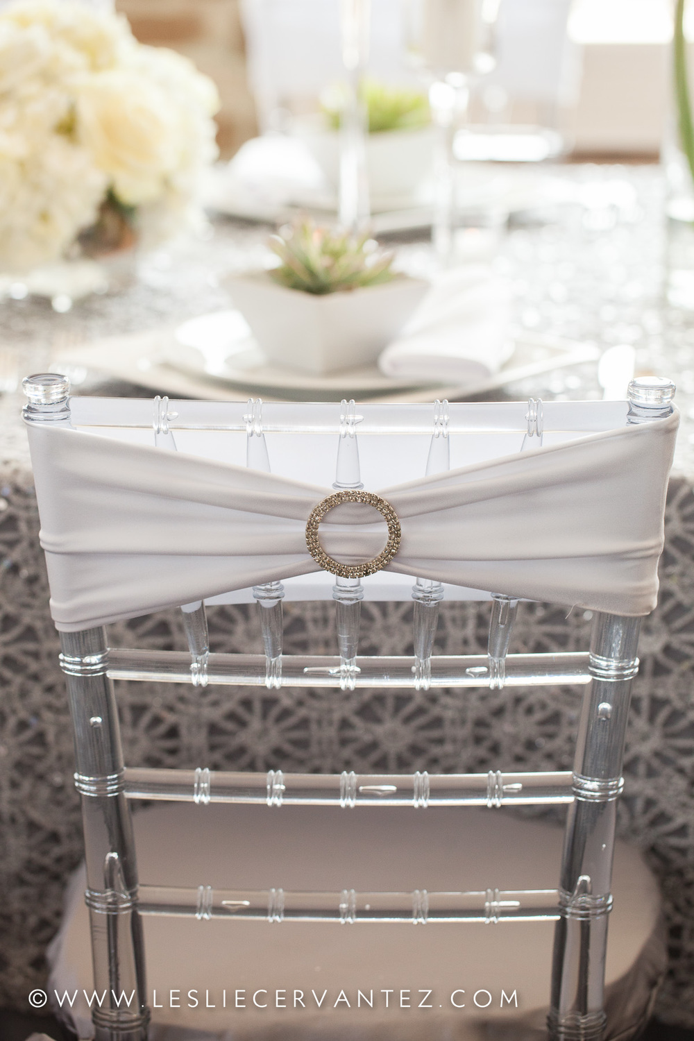 Chairs provided by Flora & Eventi; chair ties provided by Over the Top Linen