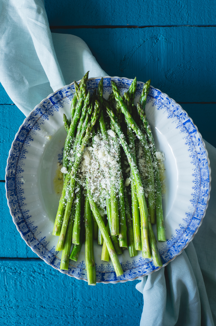 Asparagus recipe with olive oil and Parmesan cheese.