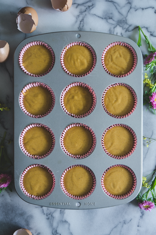 Carrot cupcakes in the pan