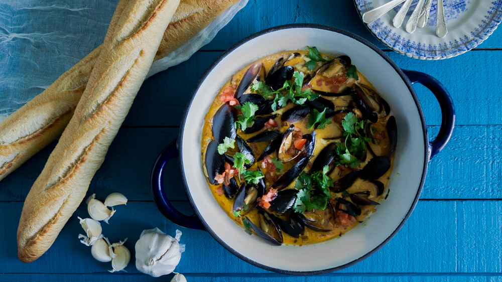 Mussels steamed in a chorizo, tomatoes, tarragon and cream sauce.
