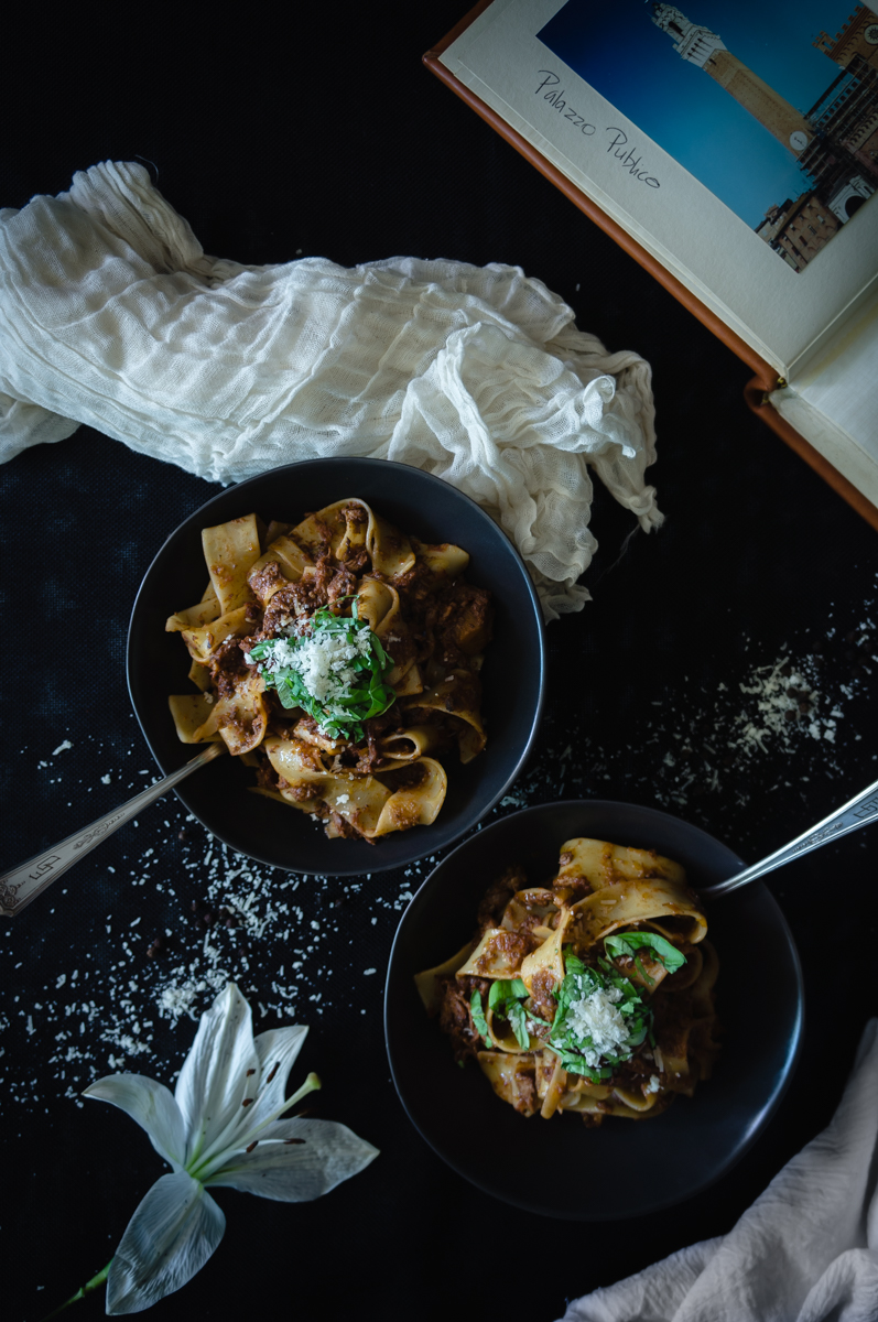 Veal ragu over pappardelle pasta.  Great date night recipe.