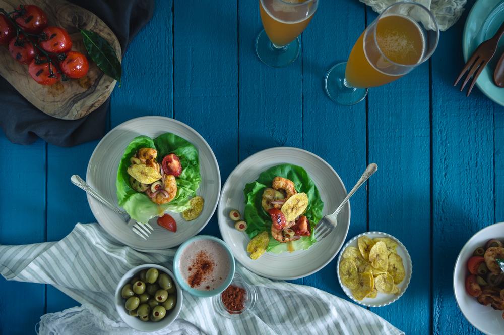 Caribbean shrimp lettuce wraps with plantain chips