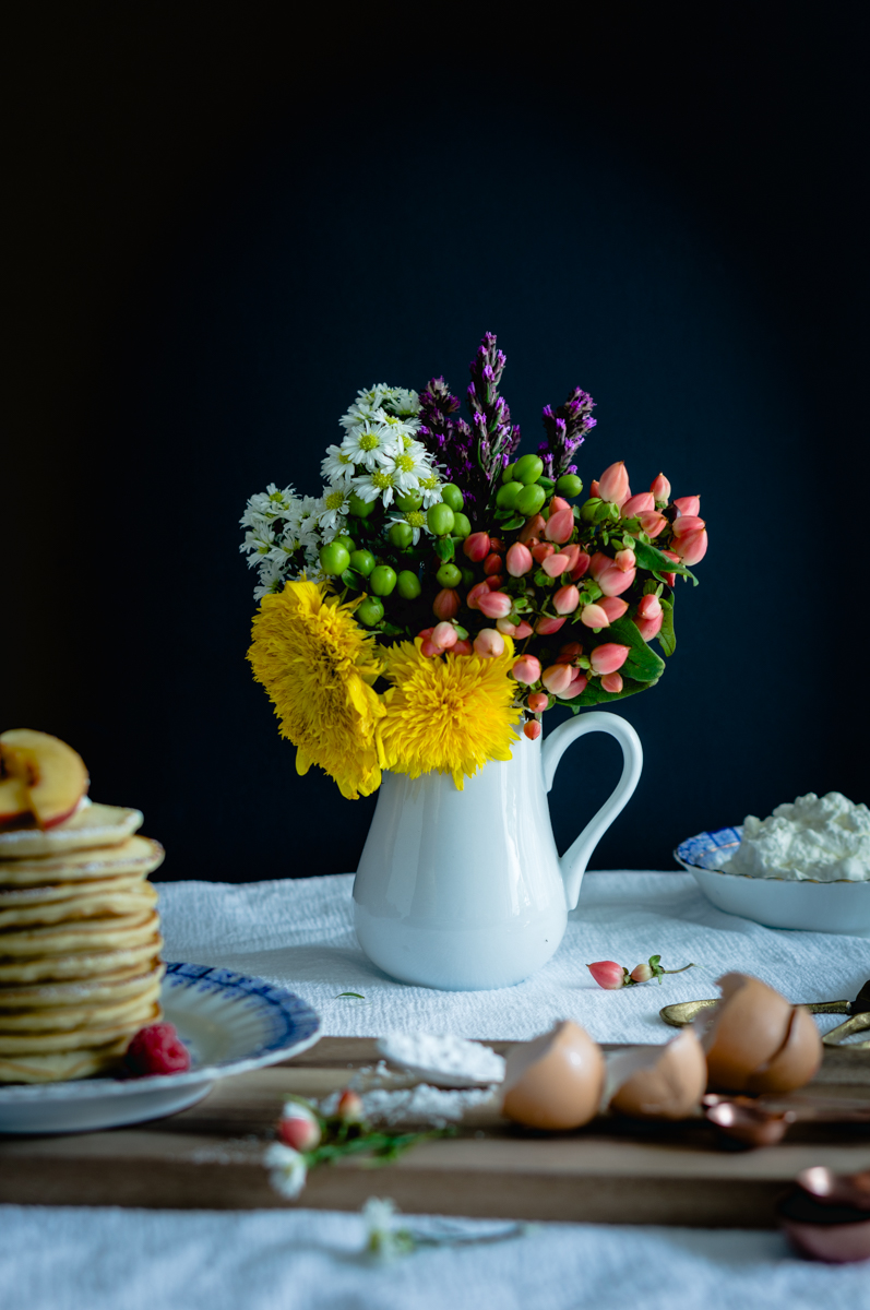 Always good to have flowers when cooking the best pancakes recipe!
