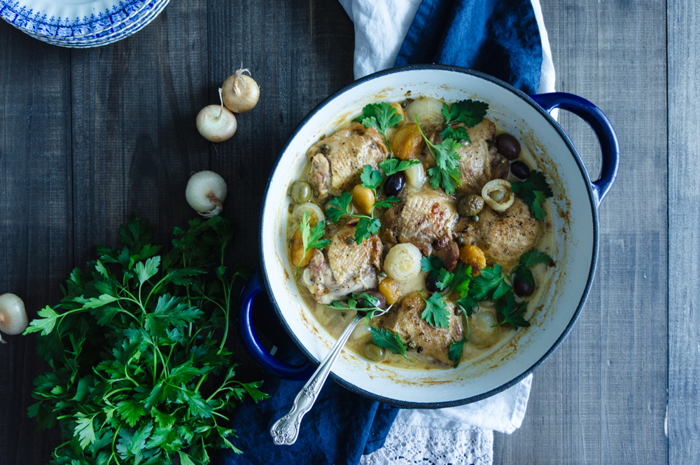 Beer braised chicken with apricots, capers, olives and pearl onions