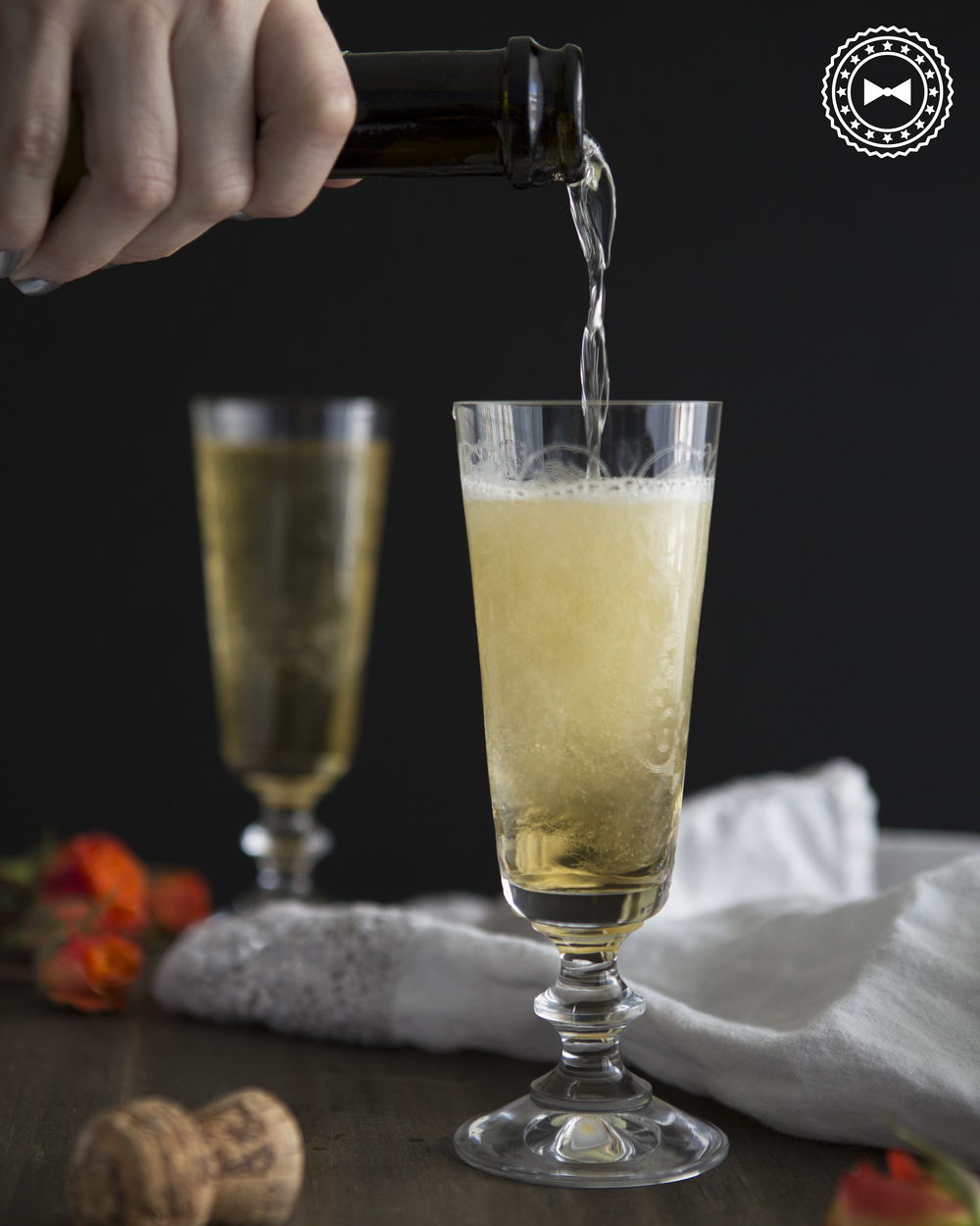 Sparkling wine with tarragon syrup