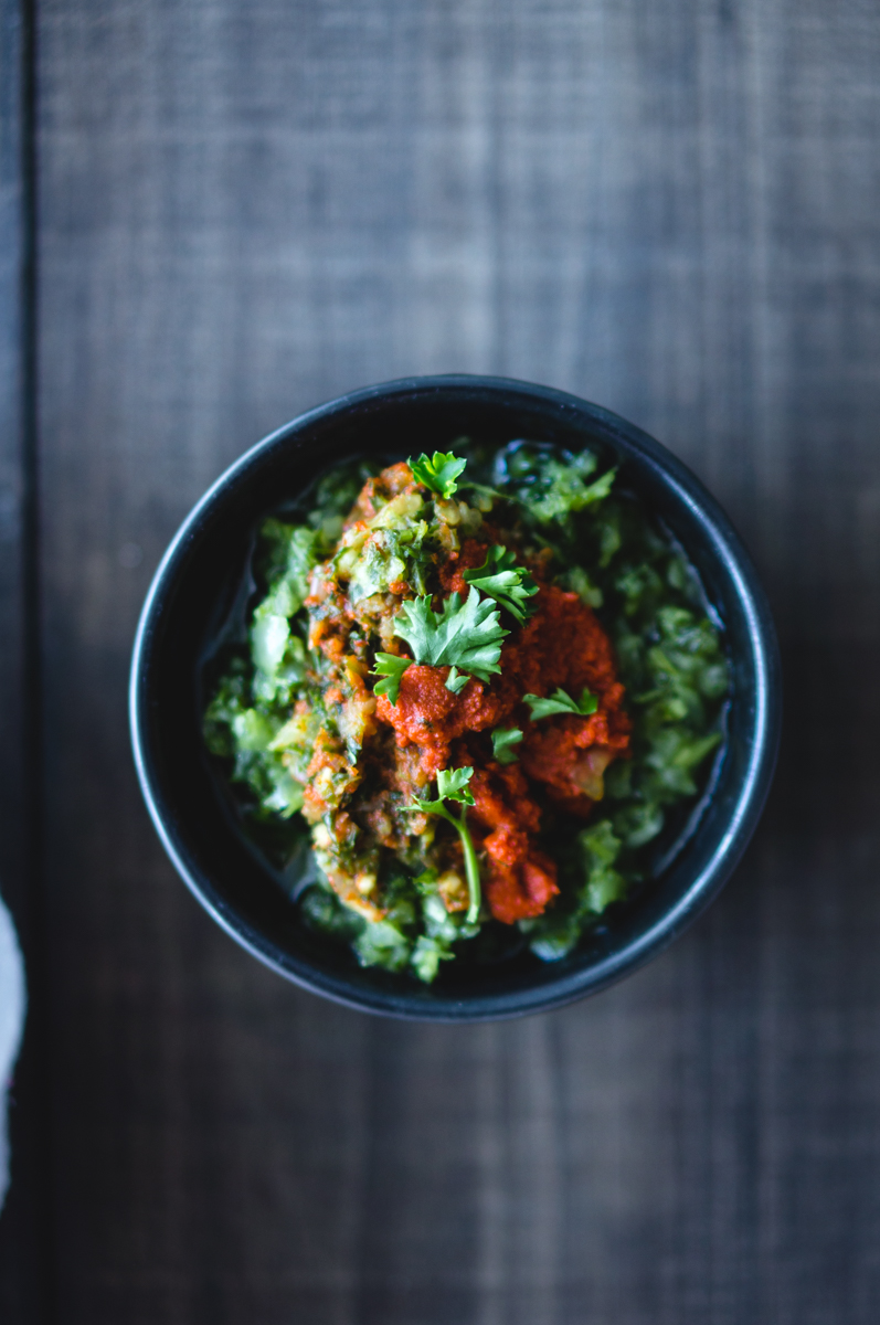 chimichurri and red curry paste sauce