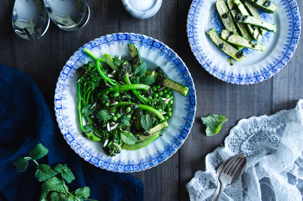Broccollini, baby zucchini and green peas salad