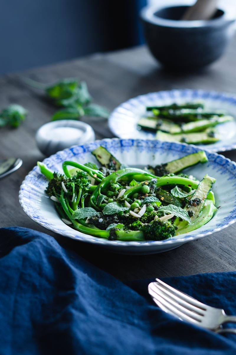 Broccollini, baby zucchini, green peas and mint salad