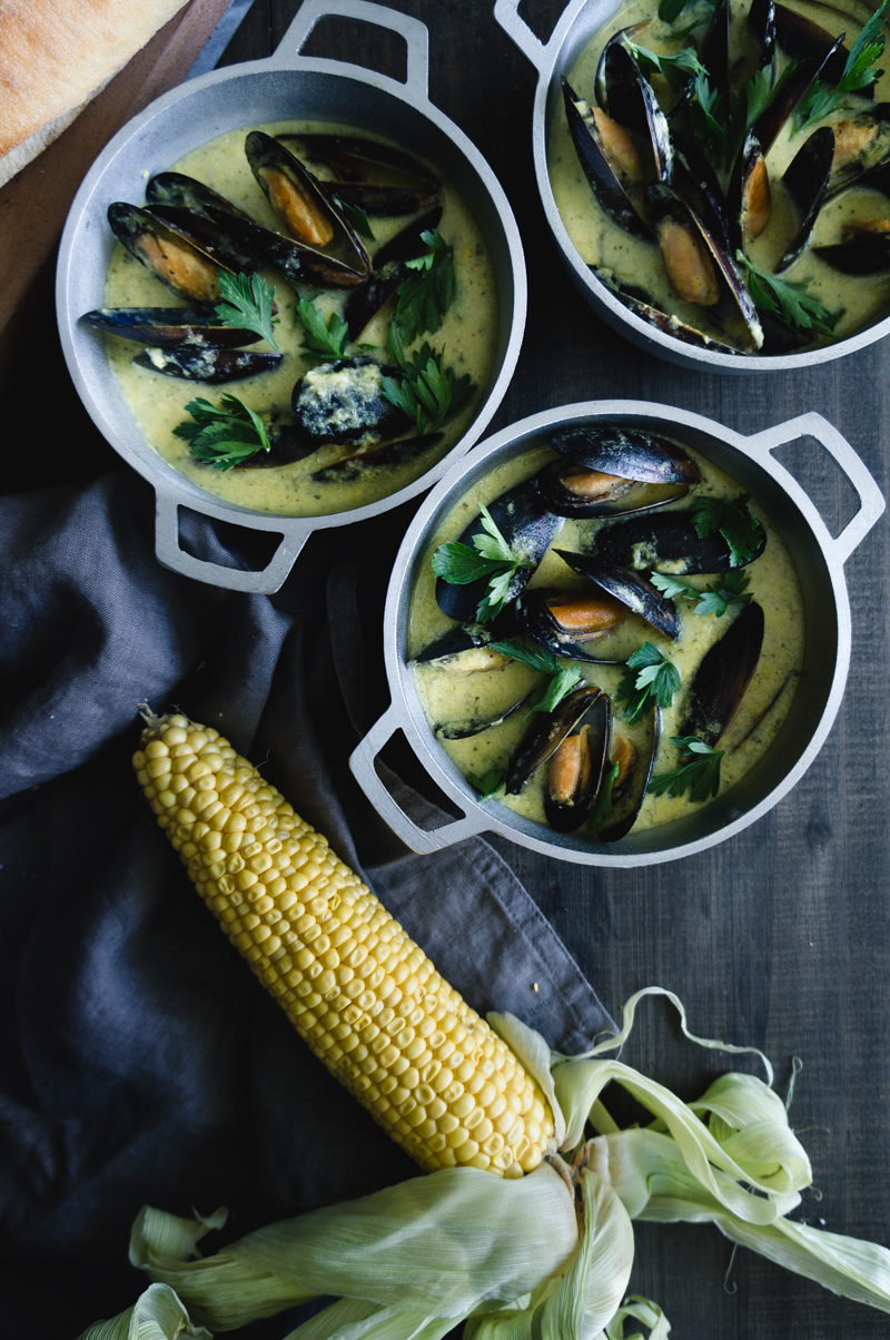 steamed mussels in a corn and coconut sauce