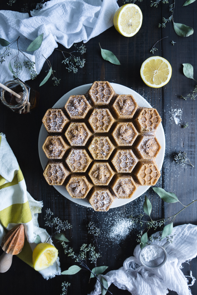 Honeycomb Cake with Honey Lemon Curd - Honey Lemon CurdHeavy cream – 2 TBSPArrowroot – 1 TBSPEggs – 2Egg yolks – 2Honey - ⅓ cupFreshly squeezed lemon juice – ½ cupUnsalted butter, softened and in pieces – 8 TBSP, 1 stickCakeUnsalted butter, softened – 6 TBSPRaw sugar – 1 ¼ cupUnbleached flour – 2 cupsBaking soda – ¾ TspBaking powder – ¾ TspCoconut milk – 1 cupFine sea salt – ½ TspVanilla paste or extract – 1 TBSPEggs – 4