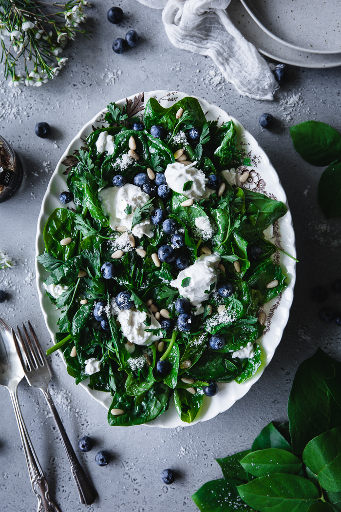 Marinated Spinach Salad with Orange & Mustard Dressing -  SaladFresh spinach – 4 to 5 cupsOlive oil – ¼ cupBurrata – ½ cupFresh flat leaf parsley, roughly chopped – ½ cupFresh blueberries – ½ cupPine nuts – 2 TBSPPinch of sea saltDressingOrange marmalade – 1 TBSPGrainy Dijon mustard – 1 TspFine Sea salt – ¼ TspWhite wine vinegar – 2 TBSPOlive oil – 3 TBSPSprinkle of fresh ground black pepperFrench Grey Sea Salt granules for serving (optional)