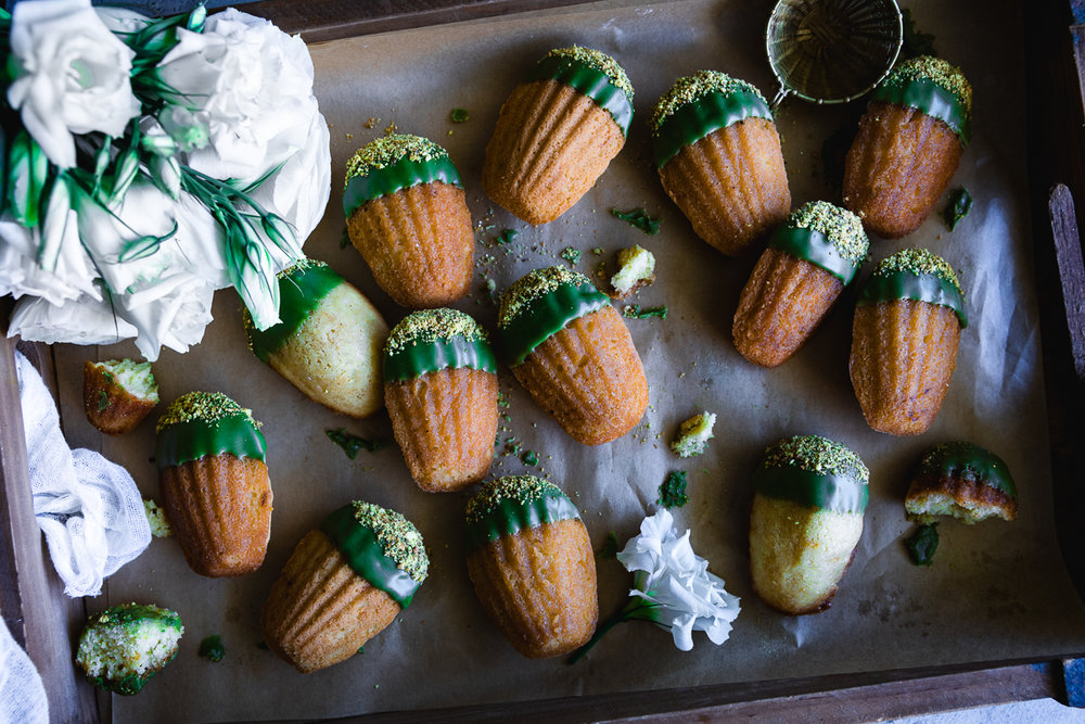 Madeleines recipe with matcha glaze