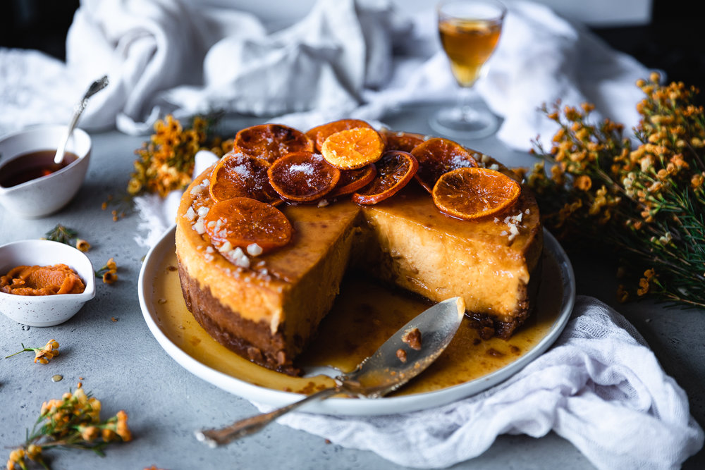 Pumpkin cheesecake recipe with ginger and candied oranges