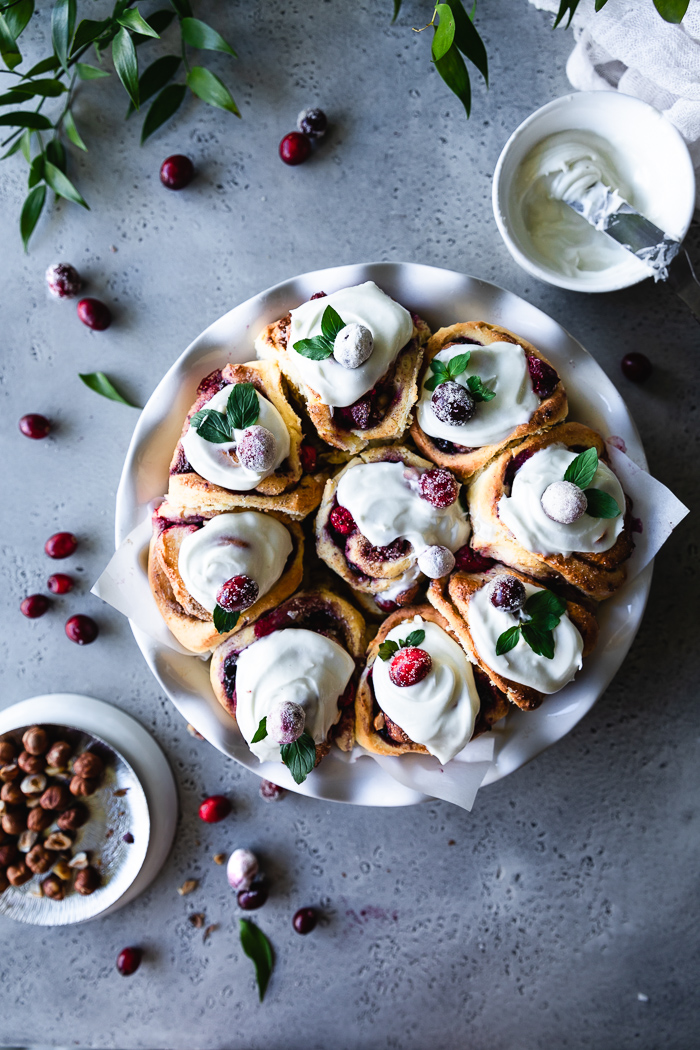 Some delicious cranberry cinnamon buns with cream cheese icing