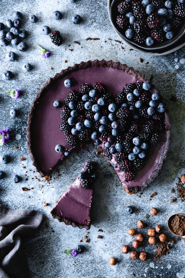 Blackberry and dark chocolate tart