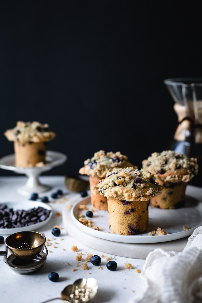 The best of both worlds; blueberries and chocolate chip in a muffin