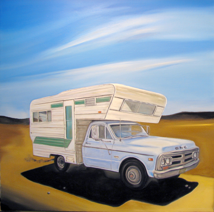 "Title: Camper  Dimensions: 24"" x 24""  Medium: Oil on canvas Date: 2008 Notes: This is my second camper painting. I like the nomadic theme it evokes."