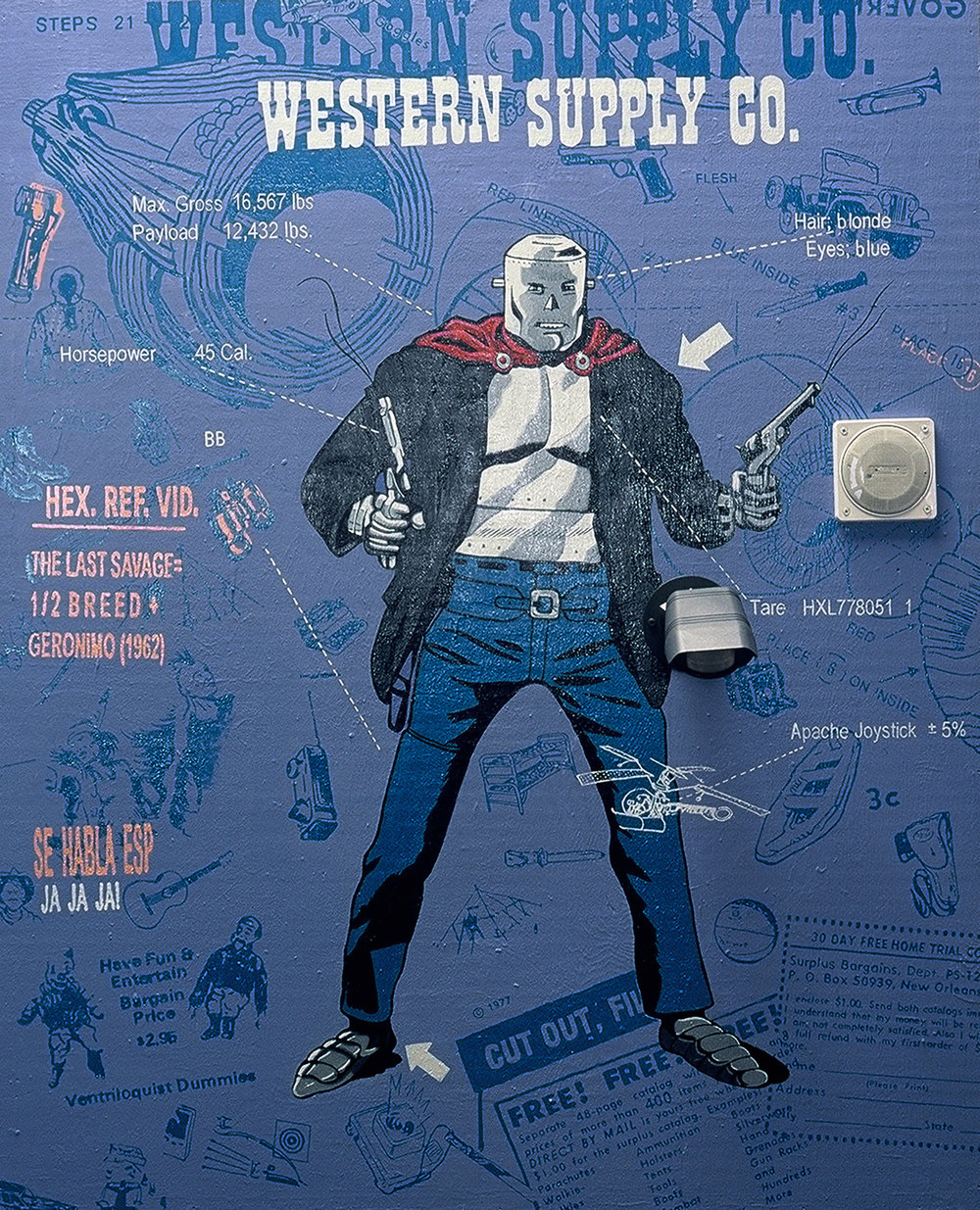 "Title: Western Supply Co.   Dimensions: 40"" x 60"" Medium: Acrylic on wood, tape loop, motion detector Date: 2000 Notes: The character in this painting is Iron Mask, a villain from the Kid Colt western comics. An urban warfare soundtrack was recorded and embedded in the frame to play whenever someone approached the painting. This painting shares many of the same themes as Icon and was made as a companion to it."
