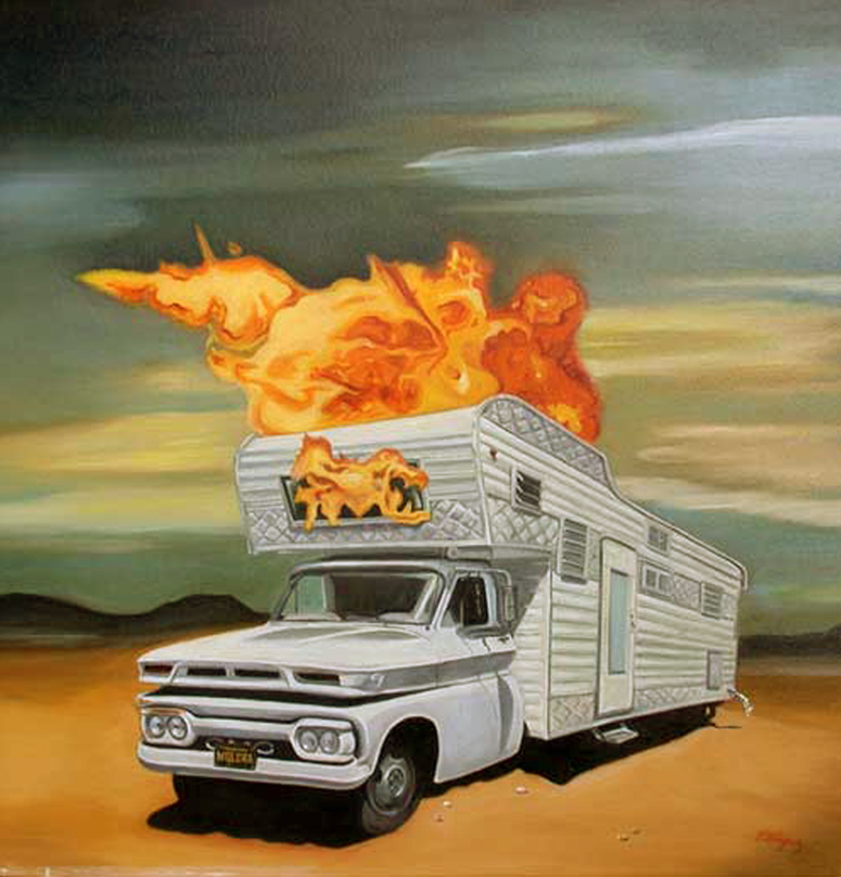 "Title: Fire on Metal  Dimensions: 24"" x 24""  Medium: Oil on canvas Date: 2005 Notes: This painting was inspired by a childhood memory of our family camper. One summer while traveling across country it caught fire."